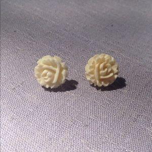 Vintage Carved Ivory Rose Earrings